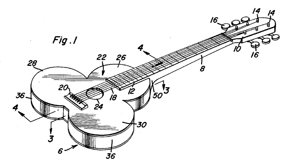 Image of a patented design for a shamrock-shaped guitar